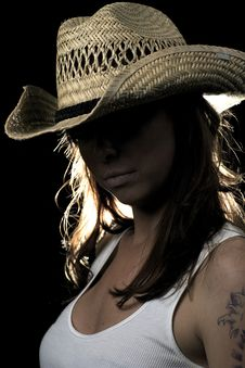 Free Mystery Woman In Tanktop And Cowboy Hat Royalty Free Stock Images - 22780199