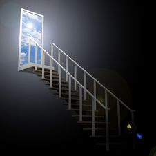 Ladder Leading Up To The Sky Royalty Free Stock Images
