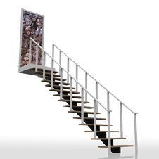 Free Ladder Leading Up To The Rock Wall Dead End. Royalty Free Stock Photography - 22780777