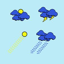 Graphic Weather On Blue Background. Royalty Free Stock Images