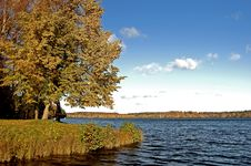 Landscape With Lake In An Autumn Sunny Day Stock Photos