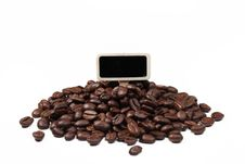 Coffee Beans With Blank Tag For Message Stock Photography