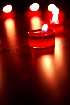 Valentines Candles In The Form Of Heart Royalty Free Stock Images