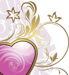 Free Pink Heart With Ornamental Elements Stock Photography - 22799022
