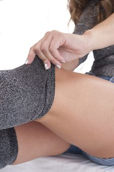 Free Woman Legs In Grey Stockings Stock Photography - 22799822