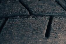 Macro Photograph Of A Sports Car Tire Tread. Selective Focus Royalty Free Stock Photography