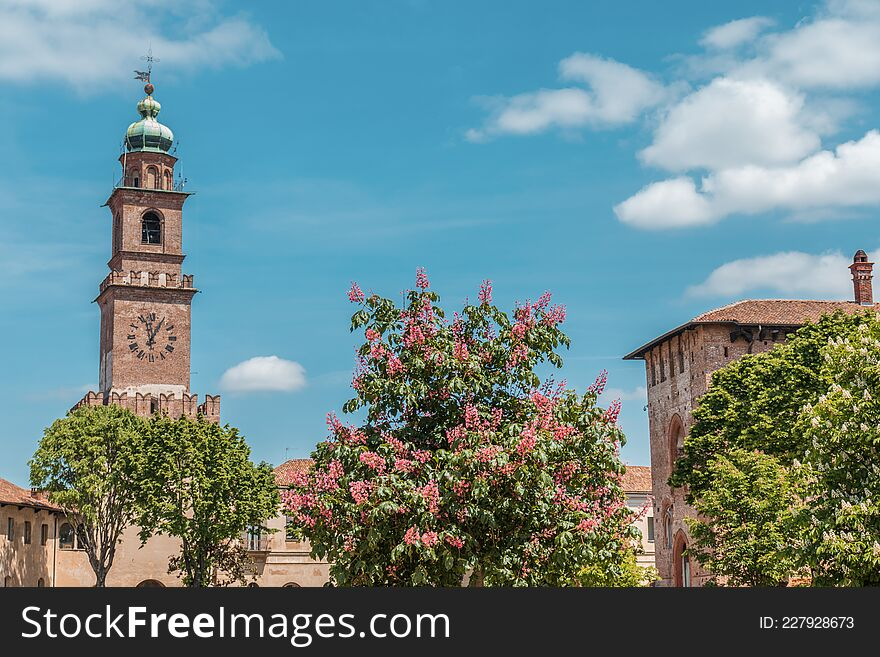 Vigevano, Italy: the clock tower and the castle. Colored vegetation on the foreground. Copy space