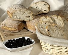 Bread And Olives Royalty Free Stock Photography