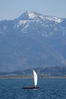 Sailing Ship In The Alps Lake Royalty Free Stock Images