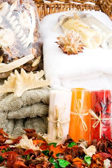 Towels, Soap And Potpourri (2) Stock Photography