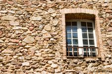 Old Stone Wall With A Window Stock Photos