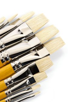 Set Of Clean Paintbrushes Royalty Free Stock Image