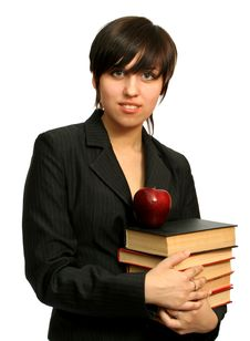 Free The Young Girl With Books Royalty Free Stock Photo - 2284185