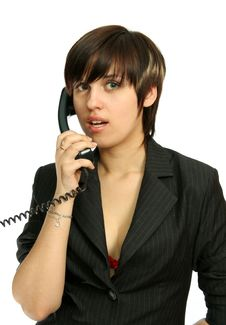 Free The Nice Girl Speaks By Phone Royalty Free Stock Photos - 2284358