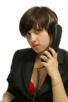 The Nice Girl Speaks By Phone Stock Images