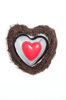 Silver Heart And Red Heart Royalty Free Stock Photography