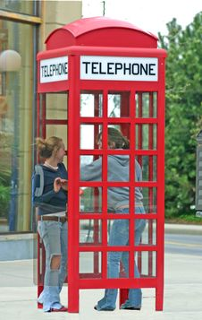 Free Girls In Telephone Booth Royalty Free Stock Images - 2288079