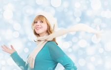 Free Christmas Portrait Of A Beautiful Girl Royalty Free Stock Photography - 22800207