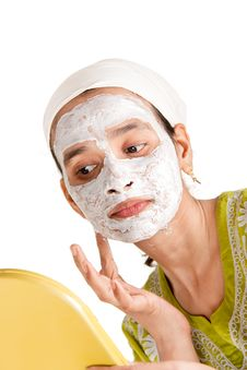 Indian Woman With Cosmetic Mask Royalty Free Stock Photography