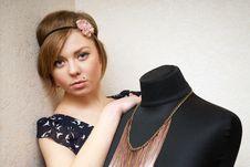 Free Girl Posing Near Mannequin Stock Image - 22808791