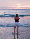 Free Woman On A Beach Taking Pictures With Camera Stock Image - 22822911