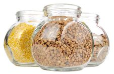 Glass Jars With Buckwheat, Corn Grits And Lentils Stock Image