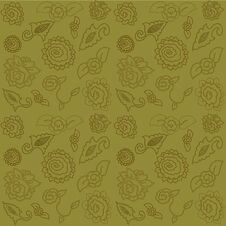 Free Beautiful Seamless Pattern With Brown Rose Royalty Free Stock Images - 22822569