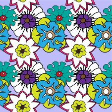 Free Seamless Pattern Of Bright Flowers Royalty Free Stock Photos - 22823188