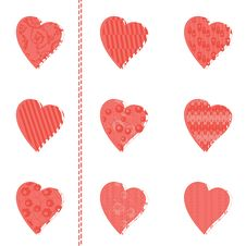 Free Set Of Patterned Hearts Royalty Free Stock Images - 22831449