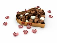 Free Heart Box Of Candy Chocolates Royalty Free Stock Image - 22835686
