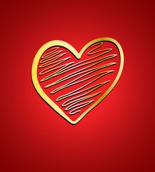 Free Heart On Red Background Royalty Free Stock Image - 22836366