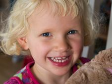 Free Little Girl With Teddy Bear Stock Photo - 22839410