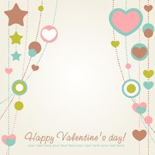 Free Valentine Congratulation Card With Hearts Royalty Free Stock Photography - 22839577