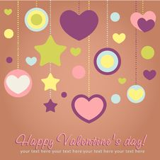 Free Valentine Congratulation Card With Hearts Royalty Free Stock Photo - 22839595