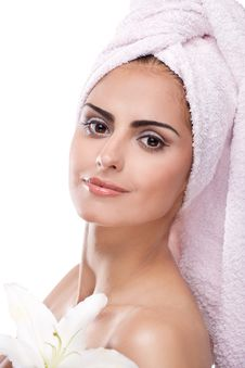 Free Brunette Spa Woman In Towel On Head Royalty Free Stock Photo - 22842335