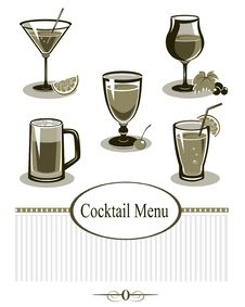 Free Cocktail Icons Set Royalty Free Stock Image - 22843646