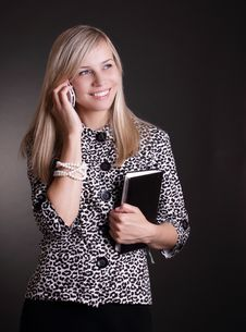 Business Woman With Phone And Notebook Stock Photography
