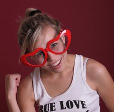 Free Funny Smiling Girl In Red Head Glasses Stock Image - 22845381