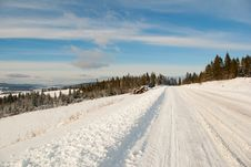 Free Snow Mountain Winter Road Stock Image - 22845591