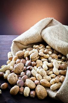 Free Variety Of Dried Fruit In The Sack Stock Photos - 22845873