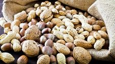 Free Variety Of Dried Fruit In The Sack Stock Photo - 22846120