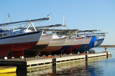 Yachts Birthed In Harbour Royalty Free Stock Photo