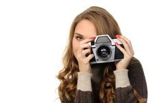Free Woman  With Vintage Camera Stock Photo - 22849830