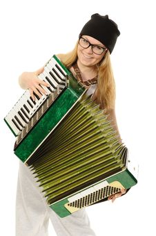 Free The Girl Plays An Accordion Royalty Free Stock Images - 22849869