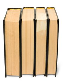 Stack Of Old Black Books Royalty Free Stock Photo