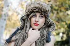 Portrait Of Beautiful Girl With The Winter Hat On Royalty Free Stock Images