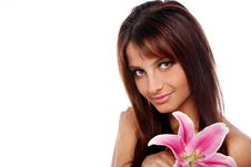 Free Young And Beautiful Woman With Lily Flower Stock Photos - 22855953