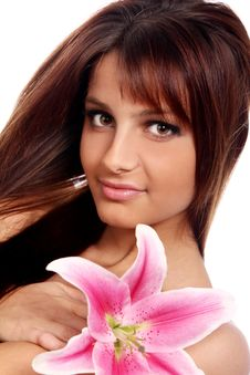 Free Young And Beautiful Woman With Lily Flower Stock Image - 22855961
