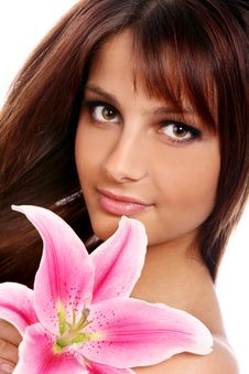 Free Young And Beautiful Woman With Lily Flower Stock Photo - 22855970