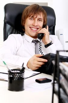Free Young And Successful Businessman Talking By Phone Royalty Free Stock Photo - 22856315